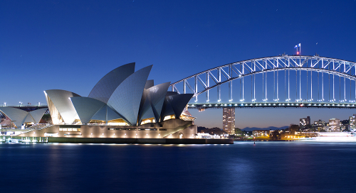 Sydney Opera House and parts of the Harbour Bridge by Jacques Grießmayer
